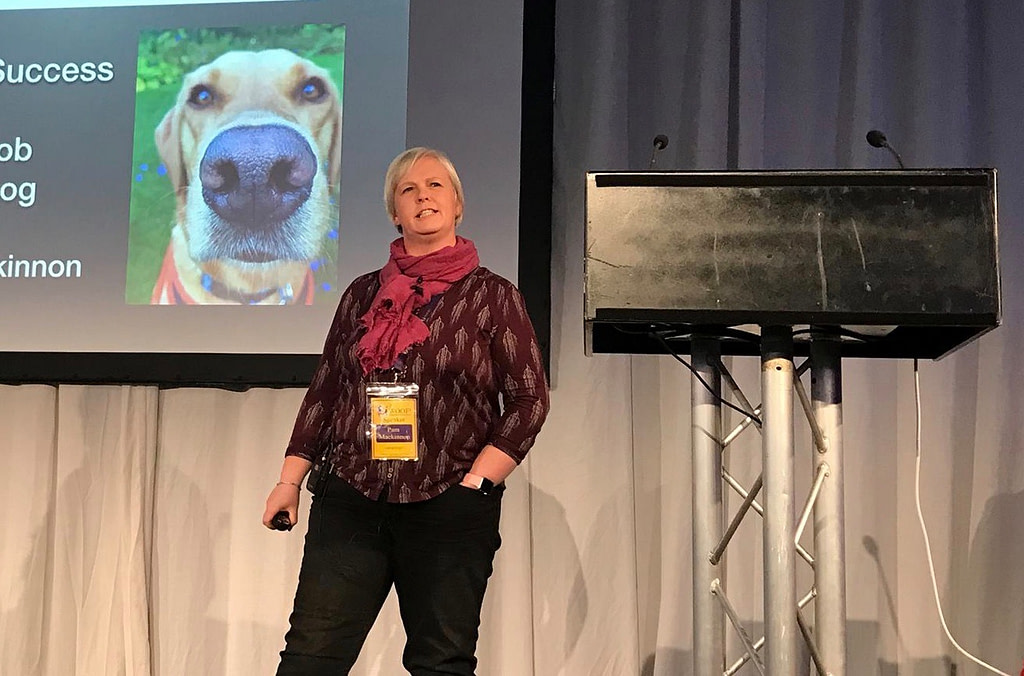 Pam Mackinnon on stage at Woof 2017
